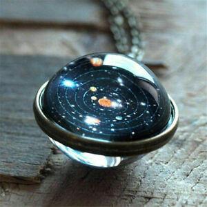 Solar-Galaxy-System-Planet-Halskette-Anhaenger-Doppelseitige-Glaskuppel-Schmuck