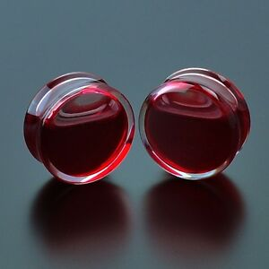 Blood-Red-Liquid-Filled-Acrylic-Globe-Plugs-Tunnel-Ear-Gauge-Double-Flare-Saddle