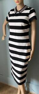 M & S Damen Stretch Gestreift Midi Bleistift Kleid UK Größe 10 Schwarz Und Weiß BNWT