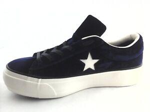 CONVERSE One Star Shoes Velvet Platform Eclipe Blue 558952C