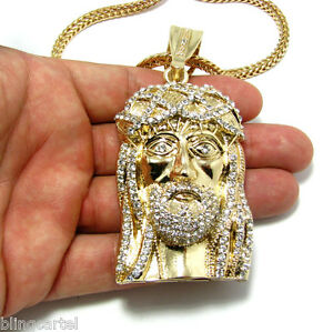Jesus piece pendant gold finish iced out bling franco hip hop chain image is loading jesus piece pendant gold finish iced out bling aloadofball Choice Image