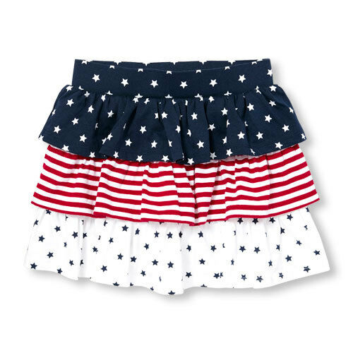 New TCP The Children/'s Place Girls July 4th Tiered Skort Skirt 4 5 6 14 year