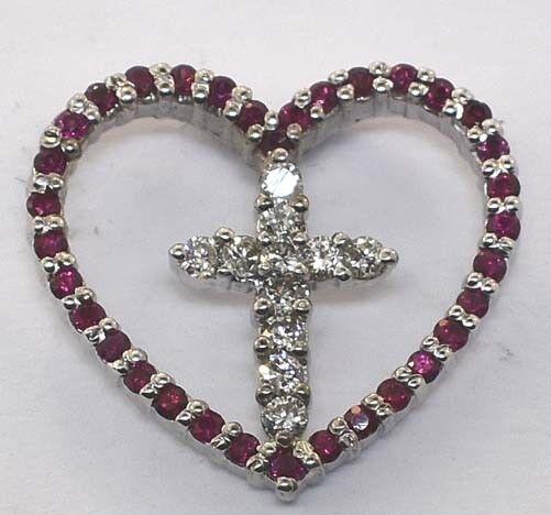 14K WHITE gold DIAMOND RUBY HEART CROSS PENDANT CHARM
