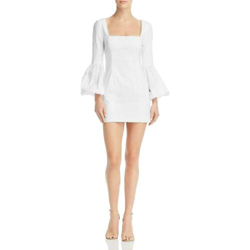 Fame And Partners Womens Eyelet Bell Sleeve Square Neck Mini Dress BHFO 1418