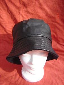 Kunst-Leder-Regenhut-schwarz-praktisch-Damenhut-gefuettert