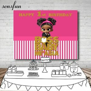 Details About Boss Baby Photo Backdrop Custom Name Girls Birthday Party Background Decoration