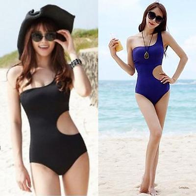 Elegant Lovely Women Swimwear One Shoulder One-piece Swimsuit Lady Bathing Suit