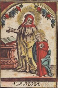 Heilige-Anna-Jesus-Kind-Heiligenbild-Gnadenbild-Andachtsbild-Koloriert-O-8550