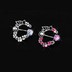 Surgical-Steel-Butterfly-Flower-Belly-Reverse-Navel-Ring-Rhinestone-Piercing-1PC
