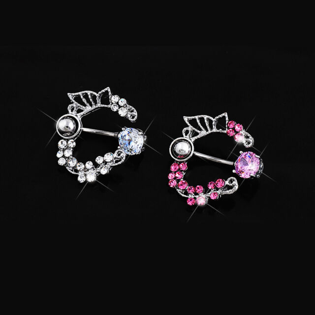 Surgical Steel Butterfly Flower Belly Reverse Navel Ring Rhinestone Piercing 1PC