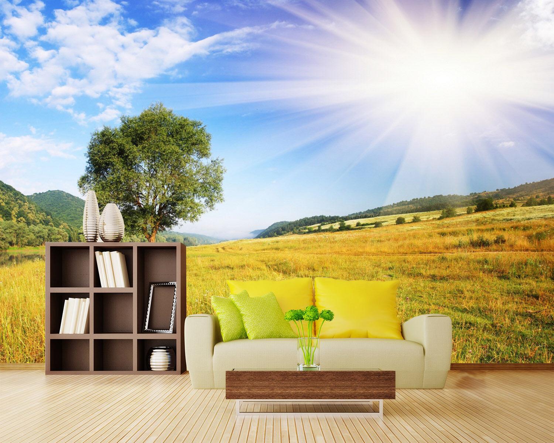 3D Sonne, Landschaft 455 Fototapeten Wandbild Bild Tapete Familie Kinder