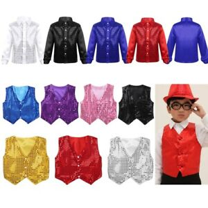 Kid-Boy-Children-Dance-Waistcoat-Party-Show-Costume-Glittery-Sequined-Vest-Shirt