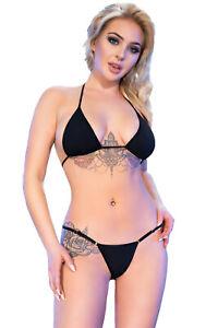 Sexy Micro Bikini Schwarz, zum Binden Bademode Größe S/M