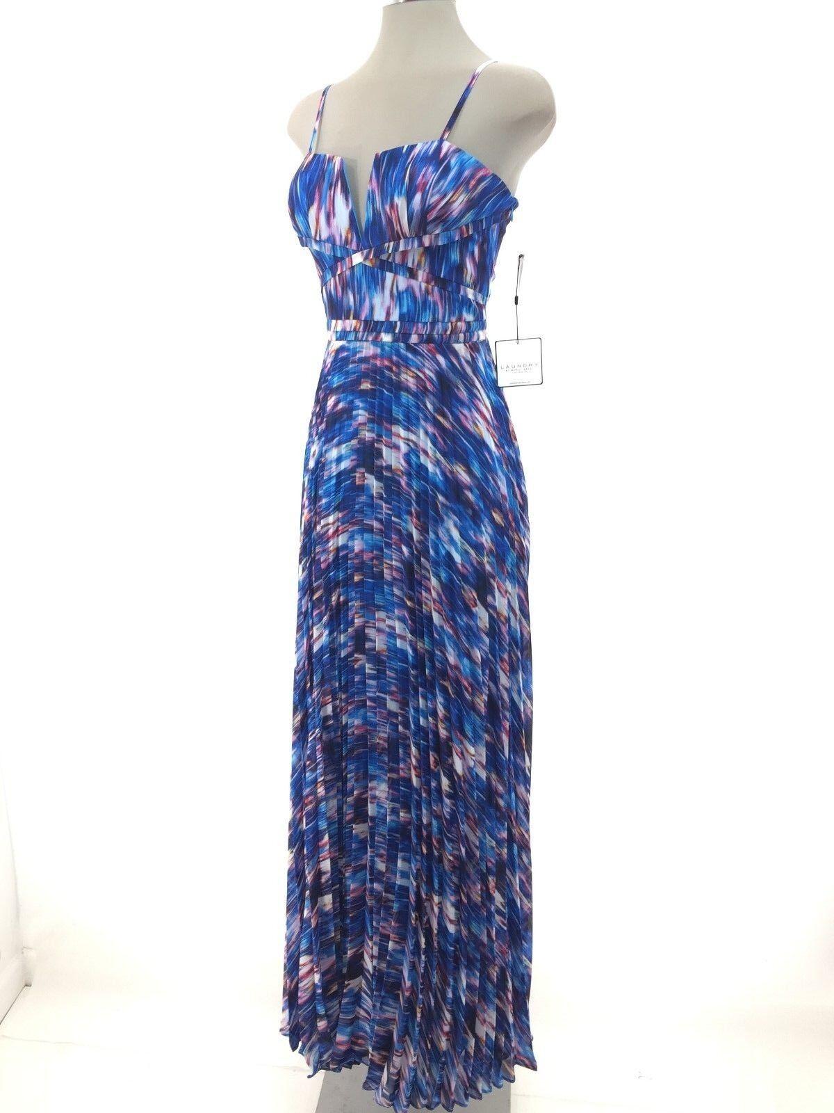 Laundry by Shelli Segal New WT Curacao Multi Beautiful Dress Pleated Größe 4, 8