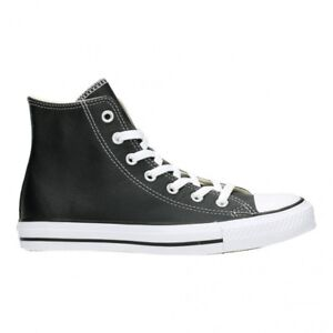 3f62e22b883c31 Converse Chuck Taylor Hi All Star Black Leather Canvas SNEAKERS ...