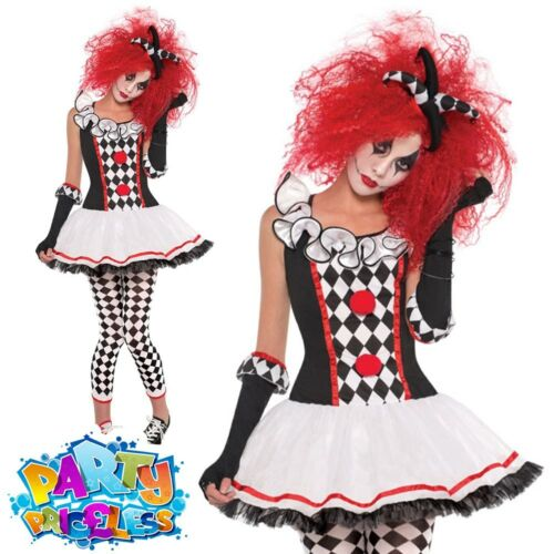 Ladies Harlequin Honey Costume Jester Clown Halloween Fancy Dress Outfit Womens
