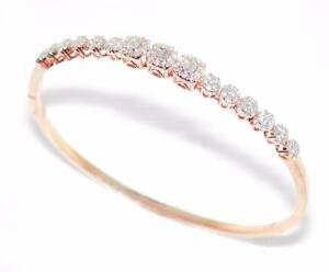 34d160a9588b3 Details about Classy 1.03 Ctw Ladies Round & Baguette Diamond Bangle  Bracelet 14k Rose Gold