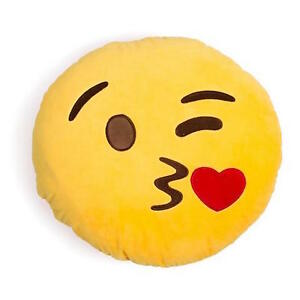 Whatsapp Emoji Emoticon Yellow Round Cushion Stuffed Pillow Soft Toys Decor UK