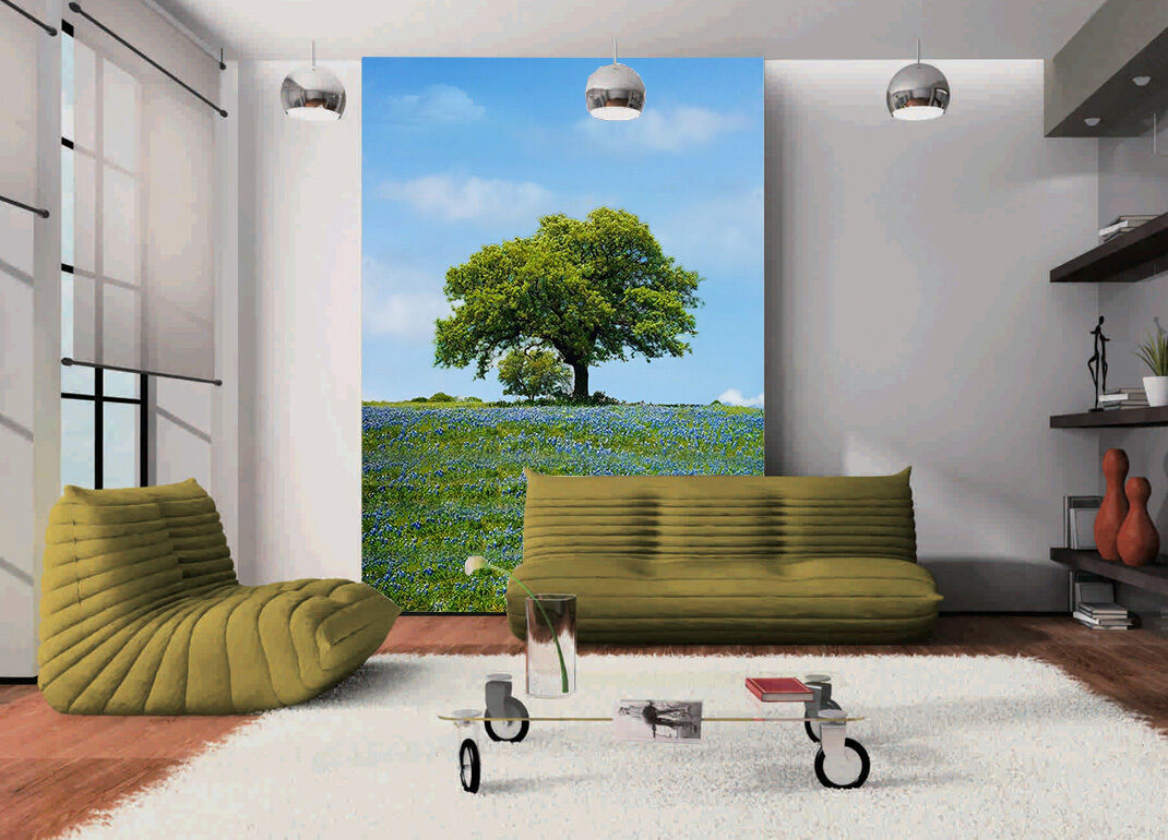 3D Sky Grassland Tree Paper Wall Print Wall Decal Wall Deco Indoor Murals