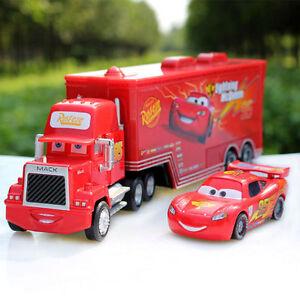 2pcs-Disney-Pixar-Cars-Lightning-McQueen-amp-Mack-Superliner-Truck-Diecast-Kid-Toy