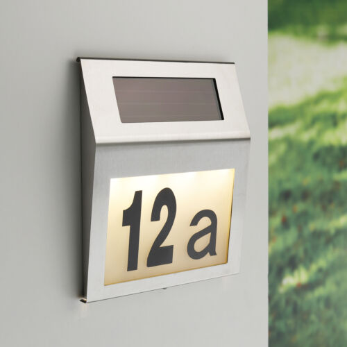 LED solare numero civico solare resistente alle intemperie numeri di casa Lampada Acciaio Inox Lampada Muro