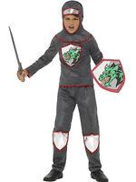 Boys Knight Costume Gladiator Warrior Silver Gray Renaissance Kids Child M L
