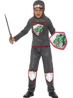 Boys Knight Costume Gladiator Warrior Silver Gray Renaissance Kids Child M L