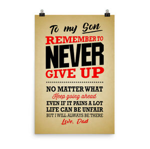 poster gift for son remember to never give up retro poster