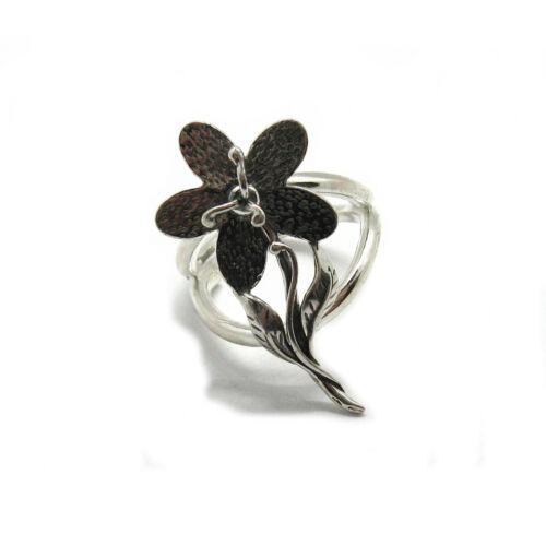 Genuine sterling silver ring Flower solid hallmarked 925 adjustable size