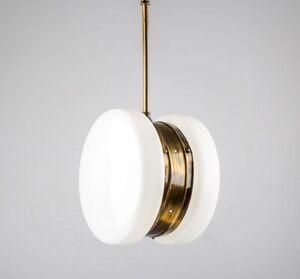 Ancien-Art-Deco-Laiton-amp-Milk-Glass-Eclairage-Lustre-au-plafond-Lampe