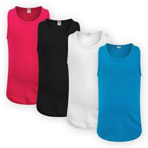 Girls Jersey Racer Back Tank Vest Top Cotton Sleeveless Plain T-Shirt Tee Shirt