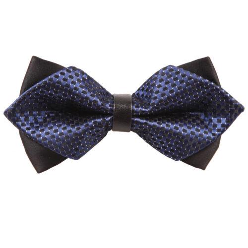 DQT Checkered Navy Blue /& Black Diamond Tip Mens Pre-tied Bow Tie