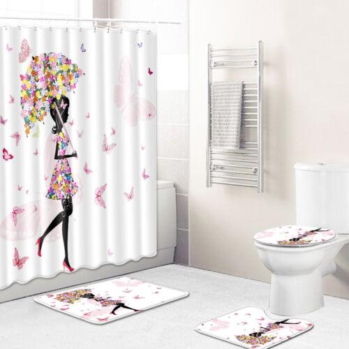 Butterfly Bathroom Rug Set Shower Curtain Bath Mat Non-Slip Toilet Lid Cover