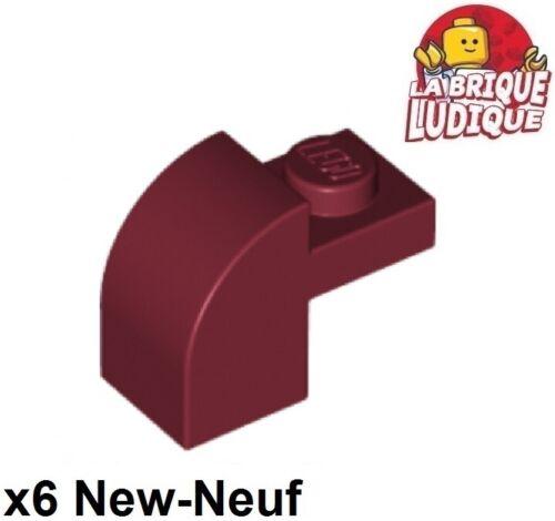 Lego 6x Brique Brick Modified 1x2x1 x1//3 curved rouge foncé//dark red 6091 NEUF