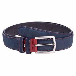 Capo-Pelle-Designer-Mens-Belts-Italian-leather-belt-Blue-suede-Red-Custom-buckle