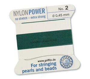 Griffin NylonPower grün Perlseide, Perlfaden; 2m 1 Nadel; versch. Stärken