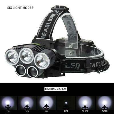 Outdoor 8000Lm 3x X-M-L T6 LED Flashlight Rechargeable Headlamp HeadLight FT