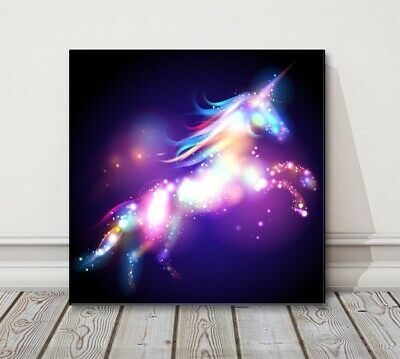 abstract magic unicorn kids bedroom canvas picture print modern art