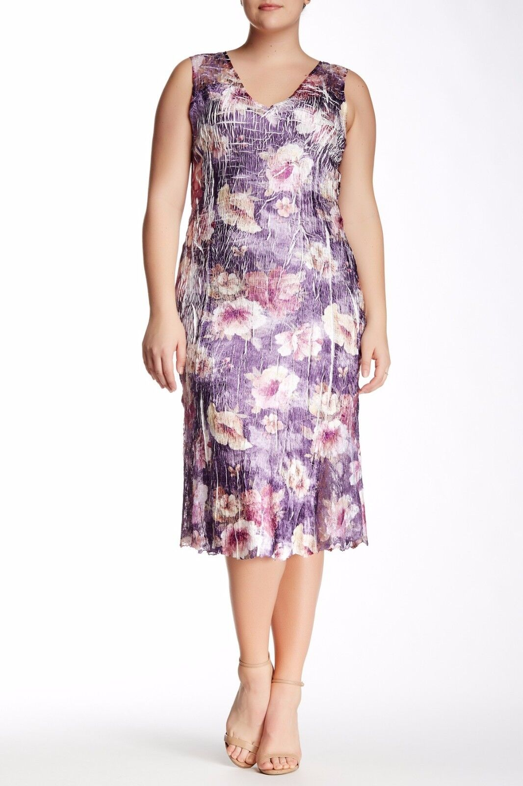 NWT KOMAROV Woman lila Floral Print Lace Trim Sleeveless V-Neck Dress 3X