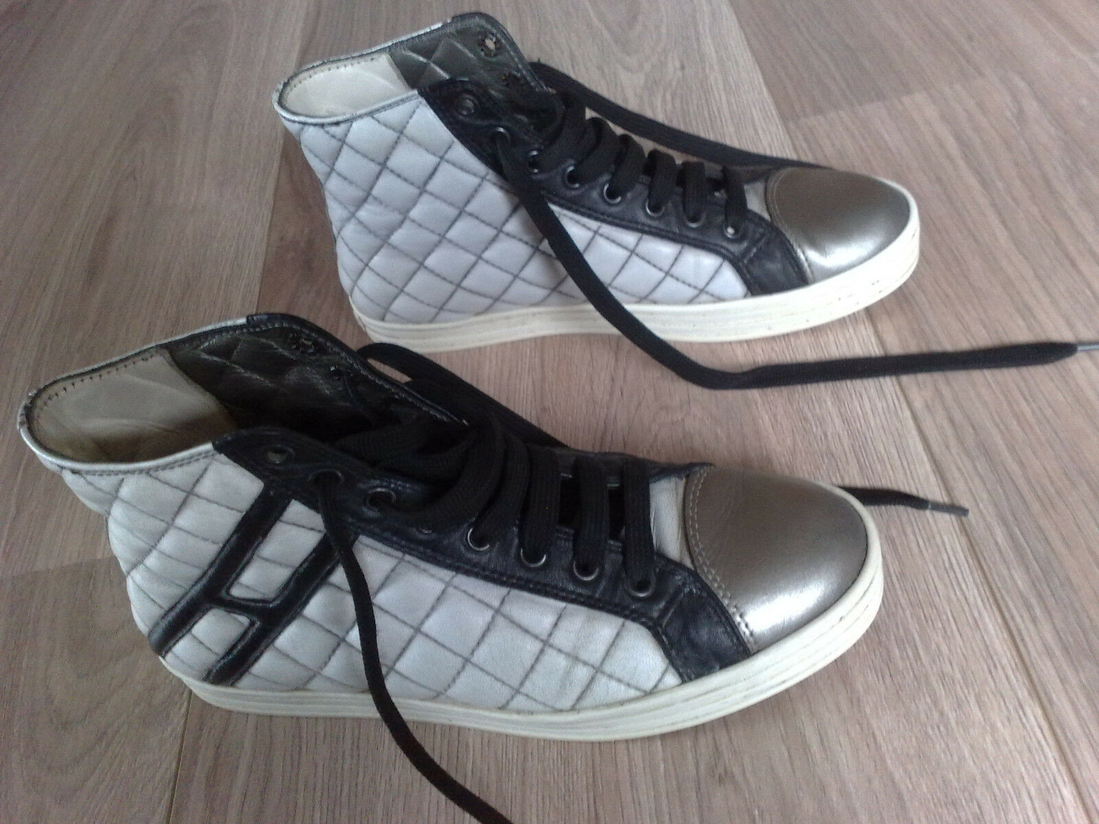 HOGBN REBEL Turnschuh-Sneaker Größe 37 weiß-schwarz-silber