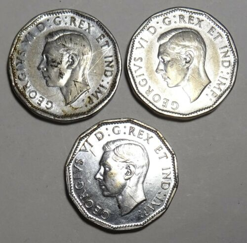 3x 1945  Canada 5 WW2 commemorative coin five cents Canadian nickel Coins
