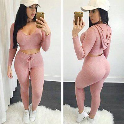 Women 2pcs Tracksuit Hoodies Sweats Sweatshirt Pants Sets Sport Wear Casual Suit