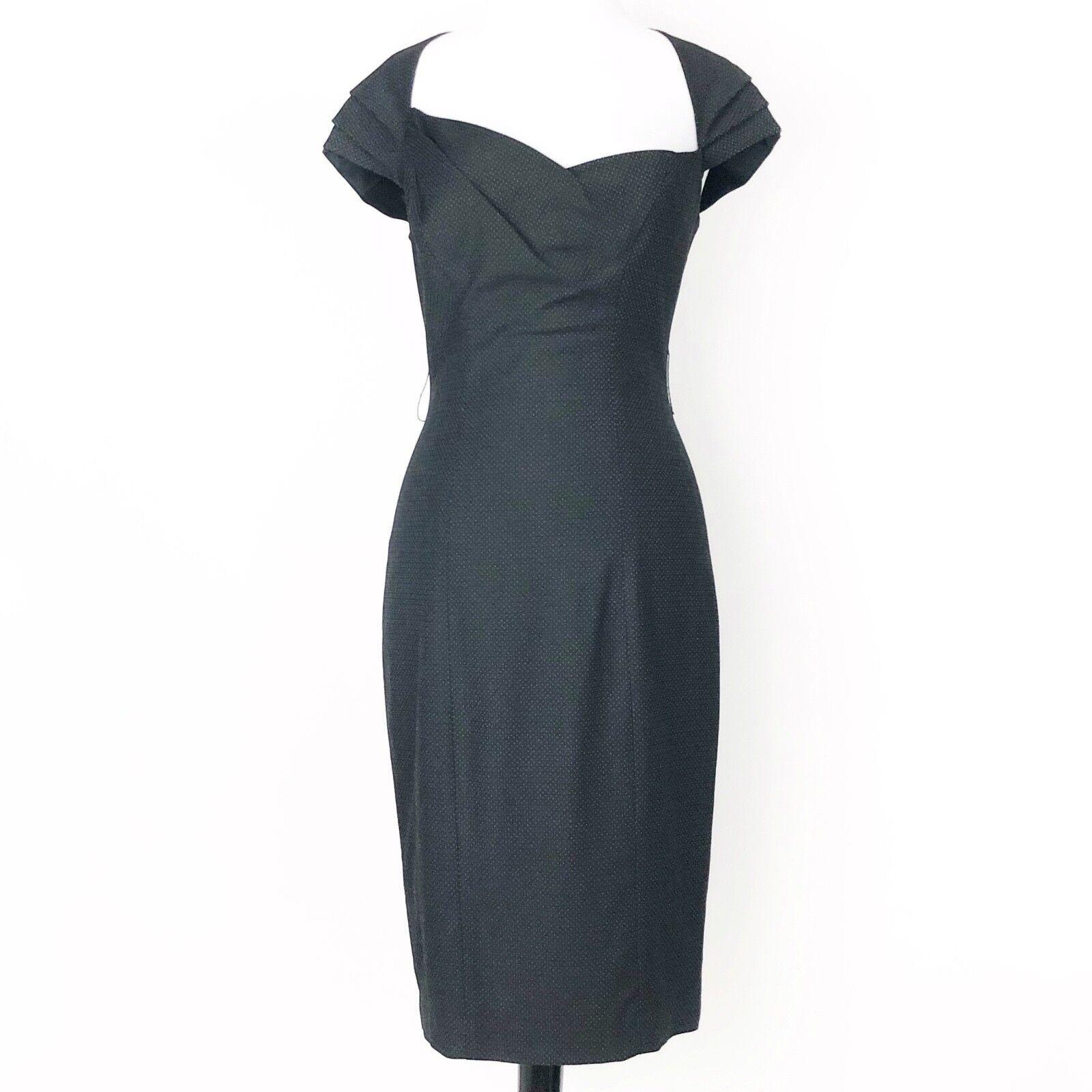 Bebe schwarz Polka Dot Texturot Asymmetrical Neckline Pleat Sheath Pencil Dress 6