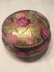 Free shipping. Antique Pink and Green Hand Painted Porcelain Oval Box