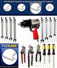 50 Assorted Black Locking Poly Peg Board Hooks Fit 14 In Standard Pegboard