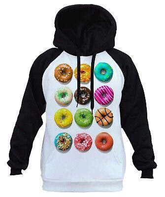 Men/'s Colorful Dozen Donuts White Raglan Hoodie Doughnut Funny Cake Food B500