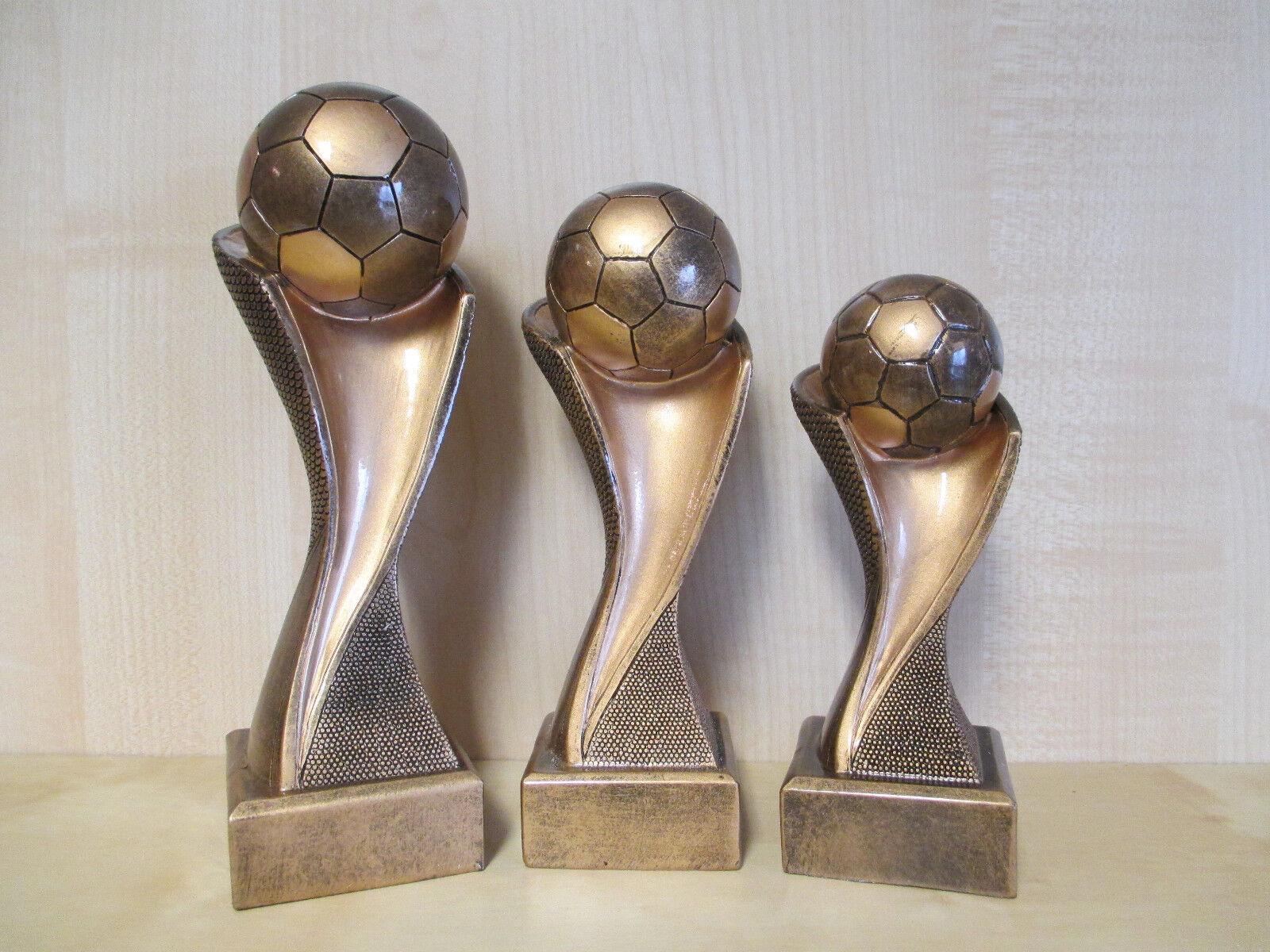 Fußball Pokal 3er Serie 19-27cm Kids Sieger Figur Figur Figur Pokale Turnier m. Gravur (c156 d72542