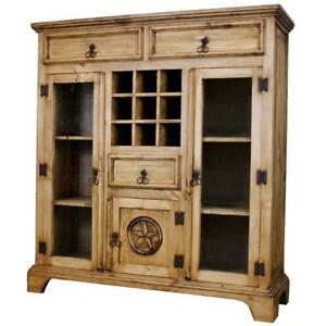 Image Is Loading Pine Wood Antique Wall Bar Cabinet Liquor Storage