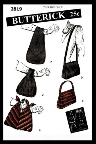 BUTTERICK #2819 Pattern Handbag Purse Bag Fabric Sewing Vintage 1940/'s Bolso Sac