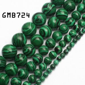 Malachite-Gemstone-Round-Loose-Spacer-Beads-15-5-039-039-Strand-4mm-6mm-8mm-10mm-12mm